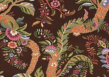 Jay Yang Fabric Peshawar Chocolate 100% Cotton  Brown Rose Green Blue Drapery