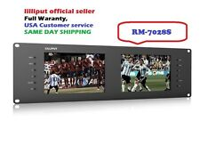 "Lilliput Dual 7"" RM-7028S 3G-SDI HDMI 3RU Rack Monitor for Live Broadcast +TALLY"