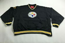 Vintage Pittsburgh Steelers NFL Football Pullover Windbreaker V Neck 2XL Black