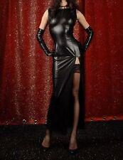 LATEX (Faux) look nero lungo maxi Dress fessura per coscia
