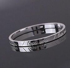 I LOVE YOU ENGRAVED Silver 18KGP Openable Bangle, Girlfriend Wife Valentine Gift