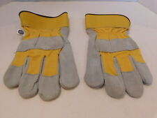 *WEST CHESTER MENS LEATHER & CANVAS WORK GLOVES UNLINED  LONG WEARING SIZE LARGE