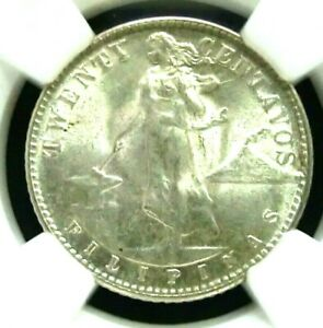 NGC MS63-US/Philippines 1945D Eagle Silver 20 Centavos BU