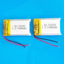 2 PEZZI 400 mAh batteria ai polimeri di Li Po 3.7 V per MP3 MP4 DVD GPS Smart watch 702030
