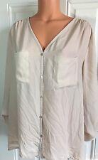H&M Ivory Blouse Sz 14 Women's Button Down Shirt Top Cream