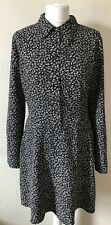 Cacharel Black Floral Shirt Dress Size 12 Collar Button Up Designer Classic
