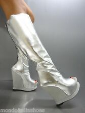 MORI MADE ITALY WEDGES BOOTS PEEP TOE STIEFEL STIVALI LEATHER SILVER ARGENTO 39