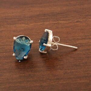 Pear Shape Checker Cut Landon Blue Quartz Silver Plated Prong Set Stud Earring