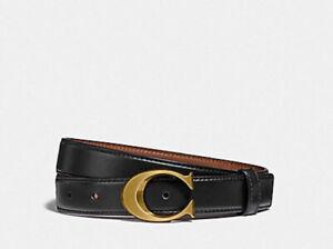 ❤️NWT Coach F83960 Signature Buckle Belt 25mm Size M or L Black pick 1