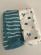 Carters Baby Boy 2 pack Swaddle Blankets Bear Forest Teal White Layette