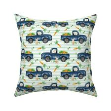 Mint Stripe Bunny Truck Throw Pillow Cover w Optional Insert by Spoonflower