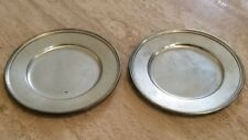 Set of Two Antique Vintage Sterling Silver Tiffany Co Butter Plates Solid 371 Gr