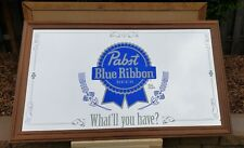 """PABST BLUE RIBBON ORIGINAL BEER MIRROR """"WHAT'LL YOU HAVE"""" PBR 59X35 BAR, LARGE"""
