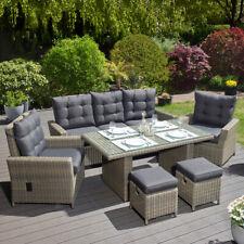Tischgruppe Braun-Grau Polyrattan Gartenmöbel Speisegruppe stufenlos verstellbar