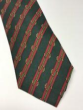 Hermes Paris Mens Necktie / Green Maroon Gold Pattern 100% Silk