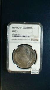 1804 Mo TH MEXICO EIGHT REALES NGC AU55 8R SILVER Coin BUY IT NOW!