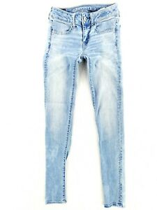 American Eagle Sz 00 Super Low Rise Jegging Skinny Jeans Super Stretch Light
