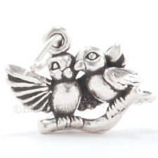 925 Sterling Silver LOVE BIRDS Charm Couple PAIR Pendant .925 Solid bird Jewelry