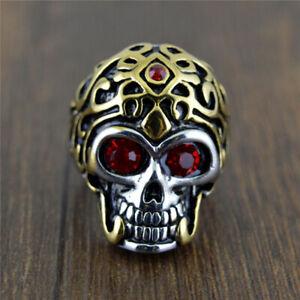 Gothic Red Eye Skull Ring for Men Stainless Steel Evil Skull Ring Gothic Biker