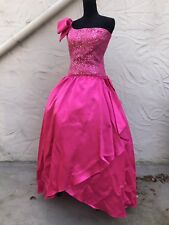 Vtg 80s Hot Pink Party Prom Dress One Shoulder Size 12 Runs Small