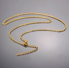 High quality Real 18K Gold Plaetd Thin Men Women Necklace Chain 18+2 inches