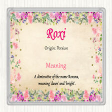 Roxi Name Meaning Drinks Mat Coaster Floral