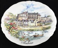 Plate Nem Decor France Amboise Porcelain Decorative Castle Boat Oars Row Flowers