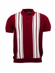Relco Mens Knitted Short Sleeve Polo Shirt Burgundy White Vintage Retro 60s Mod