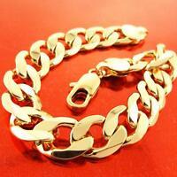 "Bracelet Bangle Cuff Genuine 18k Yellow G/F Gold Solid Men's Curb Design 8.3"""