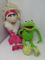 Disney Store The Muppets KERMIT & MISS PIGGY Green 16in Pink 19 in Soft Plush