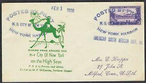 1938 NY Harbour-Connecticut via M.S City of New York Souvenir Envelope & Cachet