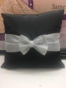 Diamanté Bow Cushion Covers 16 x 16