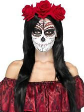 Day of the Dead Headband with Red Roses Adult Costume Accessory