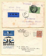 1924 FIRST TRIP BELFAST to LIVERPOOL, 1934 FIRST Air Mail BELFAST to GLASGOW
