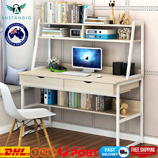Large Computer Desk Workstation Shelves Drawers Study Table Home WHITE
