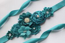 Flower Sash, teal  sash ,#2, flower Belt, maternity sash, wedding sash
