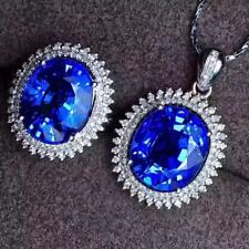 Certified Natural Sapphire 925 Sterling Silver Pendant Necklace Ring Set Gift
