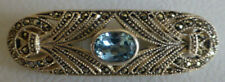 SILVER 925 Filigree Marcasite ART DECO Style BROOCH + Blue Stone Weight 9 gms