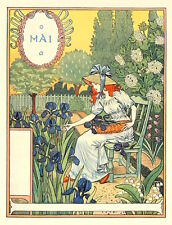 Postcard: Nouveau Print Repro - E. Grasset - May - Woman Picking Flowers, Iris