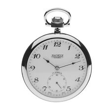 Jean Pierre Chrome Plated Open Face Pocket Watch, 17 Jewelled Lever ref G308CM