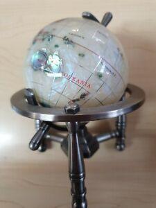 Gem Stone Globe World Metal Stand Office Desktop Man Cave