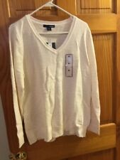 Basic Editions Woman's V-Neck Sweater Cream Gold Dots Size XL Long Sleeve