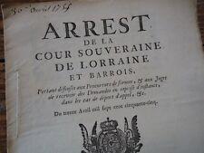 LORRAINE  ARREST COUR SOUVERAINE DELAIS POUR TAXER LES DEPENS JUSTICES 1755