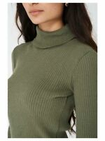 PLUS SIZE WOMENS LADIES HIGH ROLL POLO NECK KNITTED RIBBED JUMPER SWEATER TOP
