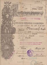 (ITC1) 1923 Italy WWI discharge papers 4 pages
