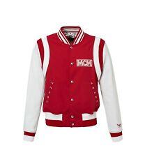 Brand New MCM Logo Stadium Bomber Varsity Leather Sleeves Jacket Coat Size Large