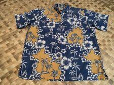REYN SPOONER BLUE GOLD PULLOVER PALM TREE REVERSE PRINT LARGE HAWAIIAN SHIRT