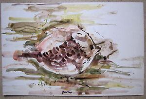 aquarelle de Guy Fantou poissons double face