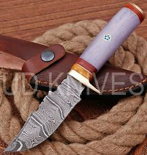 UD HANDMADE FIXED BLADE DAMASCUS ART HUNTER SKINNER KNIF CAMEL BONE HANDLE 10290