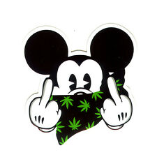Dope Hands Mouse 420 weed mask Fuxk You Spoof 8x8.5 cm, decal sticker #1279